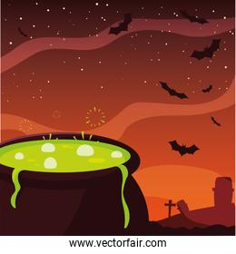 cauldron potion happy halloween celebration design