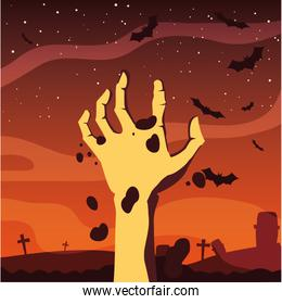 zombie hand happy halloween celebration design