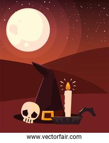 witch hat skull candle happy halloween celebration