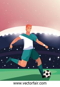 soccer player man standing in stadium