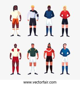 bundle of soccer player men standing