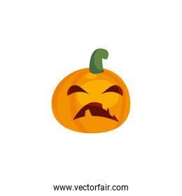 halloween pumpkin with fear face on white background