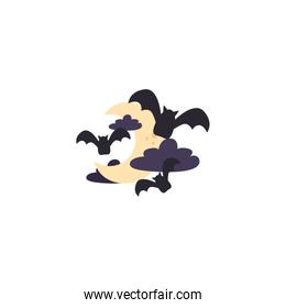 bats flying with half moon on white background