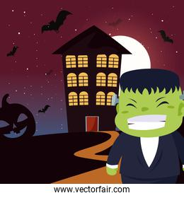 boy disguised of frankenstein in scene of halloween