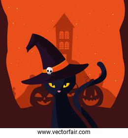 black cat with scary castle in scene of halloween