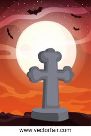 christian cross with moon in scene of halloween