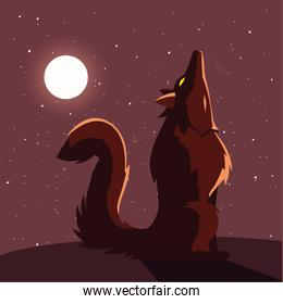 angry wolf howling to the moon in scene of halloween