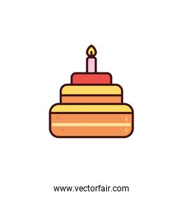 birthday cake with candle in white background