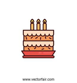 birthday cake with candles in white background