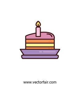 portion of birthday cake on plate with white background