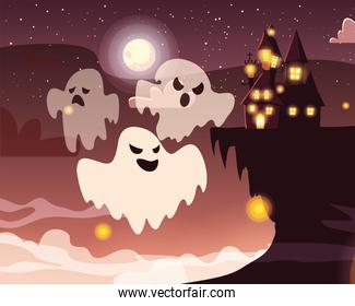 ghost with moon in scene of halloween