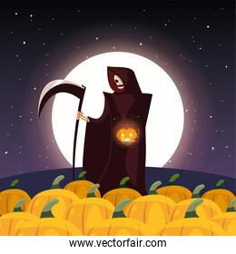 man disguised of death with moon in scene of halloween