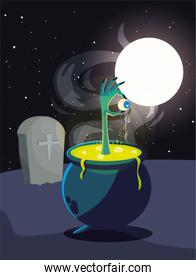 cauldron bubbly of witch in cemetery scene
