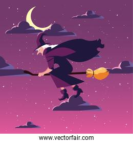 witch flying with broom in scene of halloween