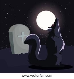 angry wolf howling in cemetery scene