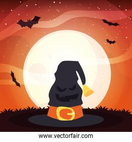 witch hat with moon in scene of halloween