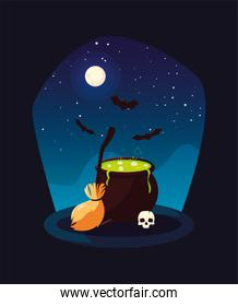 cauldron bubbly of witch in scene of halloween