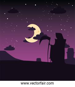 man disguised of death with moon