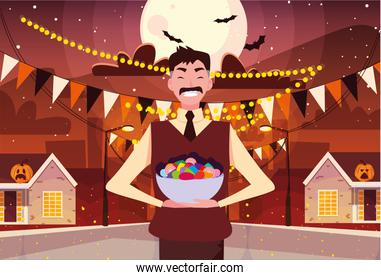man with candies in halloween night