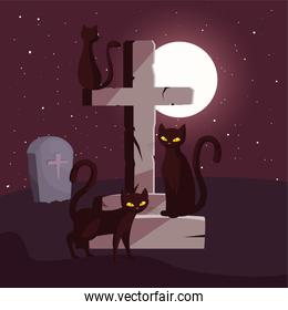 christian cross with black cats in scene of halloween