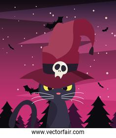 black cat with witch hat in a dark forest