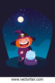 girl disguised as a witch in scene of halloween
