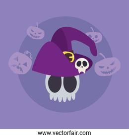 skull of dead with wizard hat in colorful background