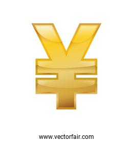 Yuan Money currency isolated symbol