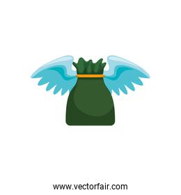 Money bag with wings
