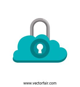 cloud padlock security over white