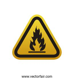 Flammable advert sign over white