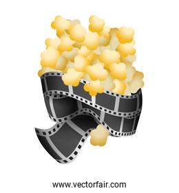 popcorn food with filmstrips and short film