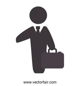 businessman with suit and briefcase