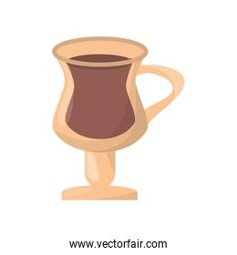 isolated cold coffee drink in glass cup