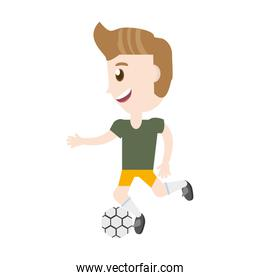 isolated man playing soccer cartoon