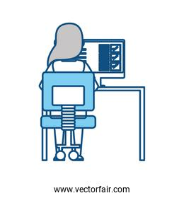 woman working at computer icon