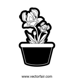 beautiful flowers in a pot icon