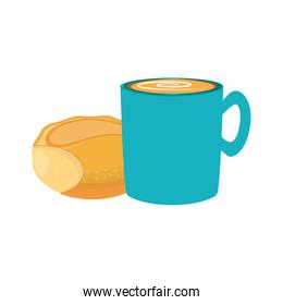 coffee cup and bread icon