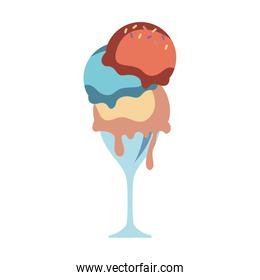 glass with ice cream vector illustration