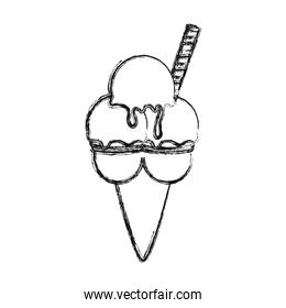 ice cream scoops in cup with wafer roll  vector illustration