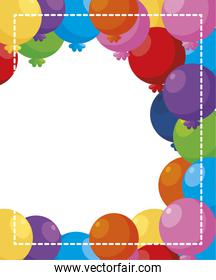 balloons helium party decorative frame