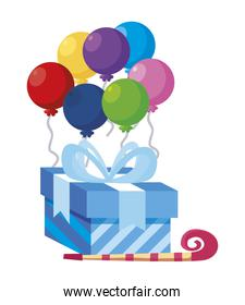 gift box present with balloons helium