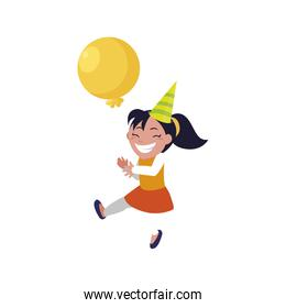 cute happy girl with birthday balloons helium
