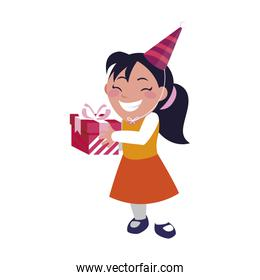 cute happy girl with birthday gift