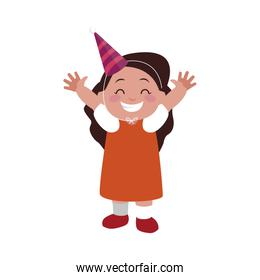 cute happy girl with birthday hat