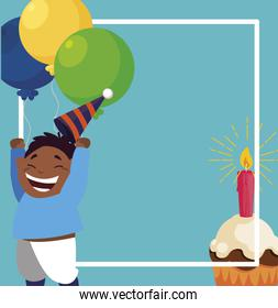 cute black boy with birthday balloons helium and cupcake