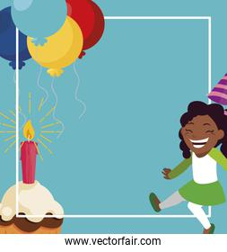 black girl with birthday balloons helium and cupcake