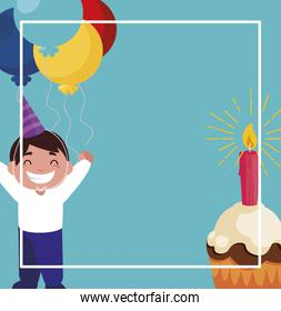 happy boy with birthday balloons helium and cupcake