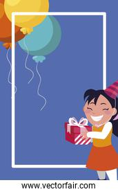 cute girl with birthday balloons helium and gift