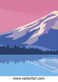 mountains with forest and lake snowscape scene
